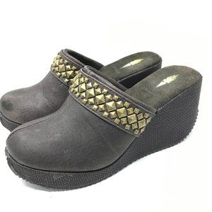 Volatile Leather Studded Wedge Mules